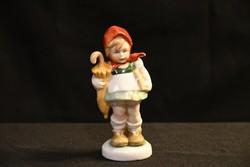 Fasold & Stauch porcelán nipp - esernyős kislány kendővel a fején