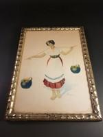 Vízhordó lány Varga által szignózott festmény