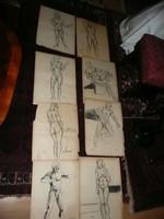 8 db eredeti, bevizsgált Kmetty János akt grafika 60*40 cm
