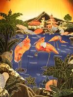 Távol-keleti, japán kézzel készült batikolt anyag, falikép