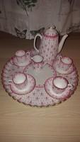 Antik angol Copeland porcelán kávés készlet 4 főre / Fleur-de-lys