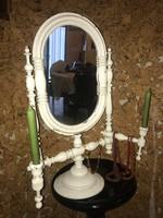 Antik francia provance stílusú fésülködő vagy pipere tükör gyertyatartókkal
