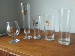 Sörös poharak -5db. Gyűjtöi darabok