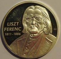 VÉGKIÁRUSÍTÁS! 24 K Aranyozott Liszt Ferenc Emlék Érme UNC
