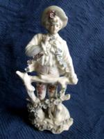 Antik, barokk férfi porcelán figura