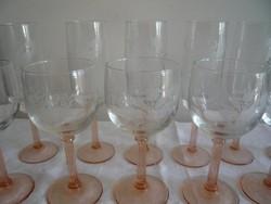 Gyönyörű, csiszolt pezsgős és boros poharak 6 + 6 db