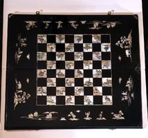 Keleti Gyöngyházberakásos Sakktábla Ostábla Összecsukható Backgammon Gyöngyház Sakk Lakkozott Fa