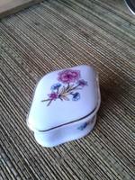 Hollóházi porcelán fedeles tartó (ékszernek, cukornak)