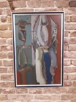 """Szekeres Emil, """"Átváltozás"""" / 2 figura / ,szigno balra lent, olaj, farost, 50x76 cm-es"""