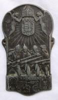 1914-1918 I.VH. Katonai felvarró,sapkajelvény.Osztrák-Magyar monarchia.37x65 mm, anyaga ötvözet