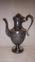 Ezüstözött réz antik tea kiöntő