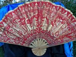 Régi aranyozott nagy bambusz és vászon legyező - Indonézia - Bali kb 1940 es évek környéke