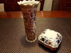 Zsolnay bambusz mintás váza és bonbonier