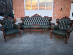 Gyönyörű chesterfield,barokk stílusú,dúsan faragott,valódi bőr ülőgarnitúra!
