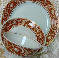 Kézzel fesztett Lettin reggeliző szett 3 részes, csésze kistányérok, barna