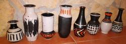 12 db. Gorka Lívia kerámia díszváza 15.5 - 27,5 cm és tálkák