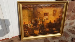 BIHARI: Egy székely fonóban. Életkép. Olaj, vászon 70,5x83 cm, festmény. Extra restaurált.
