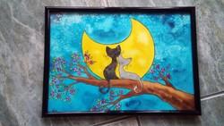 """""""Holdfény"""" szerelmes cicák kép"""