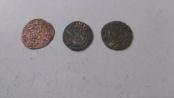 Bronz és ezüstözött  Középkori Denárok