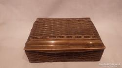Antik réz doboz , fonott minta