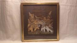 Indiai selyemkép üvegezett arany-fa képkeret