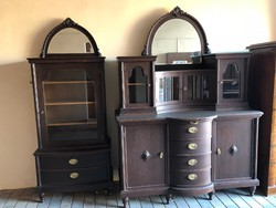 B08 Antik tálalószekrény + vitrin (külön is megvásárolható)