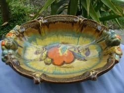 Csodálatos antik majolika asztalközép kínáló