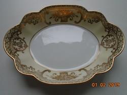 NORITAKE luxus japán porcelán,aranybrokát virágkosár mintával,ovális kis dísztál-15,5x11x2,8 cm