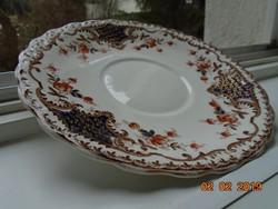 19.sz angol kézzel festett kobalt-arany pajzsmintás,virágmintás,dombormintás tányér-23,5 cm