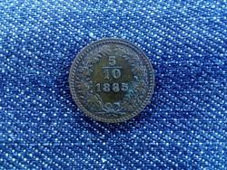 5/10 krajcár 1885 - 5 felé repedt verőtő! (id2655)