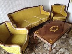 Stílbútor ülőgarnitúra intarziás dohányzóasztallal eladó