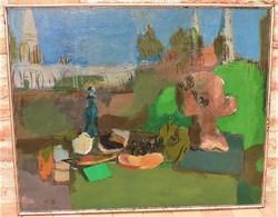 Bolgár József ( 1928-1986) Csendélet , háttérben a Halászbástyával c. olajfestménye 100x80cm EREDETI