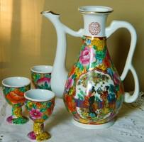 Különleges kézzel festett kanna, kiöntő és 3 db csésze
