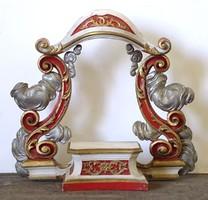 0U713 Antik faragott festett oltár piedesztál 1800