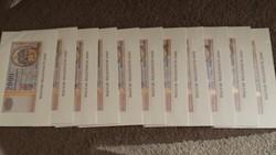 Aranyszálas Millenniumi papír 2000 forintosok 11db sorszámkövetőek