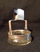 Ezüst asztali cigaretta és gyufa tartó csiszolt üveggel