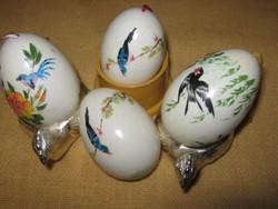 4 db   Fújt festett húsvéti tojás madaras  dekoráció
