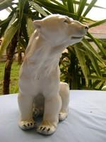 XIX. sz. Meisseni porcelán medve hatalmas élethű