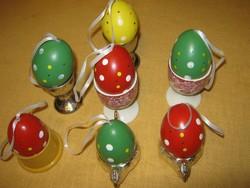 7 db   Fújt festett húsvéti tojás pöttyös  dekoráció