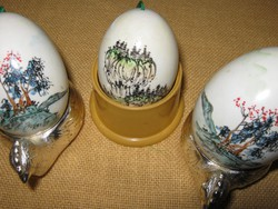3 db   Fújt festett húsvéti tojás fás  dekoráció