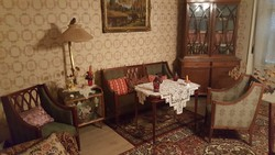 Antik empire rézveretes szalongarnitúra, étkező és íróasztal 10 darab