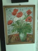 Olajfestmény csendélet, szignós pipacsos festmény olaj kép