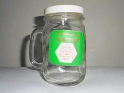 Retro akácméz mézes üveg csupor - Mellis Budakörnyéki ÁFÉSZ - papír címkés - 1980-as évekből