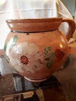 Népi cserép szilke-korsó-köcsög kézi festéssel antik