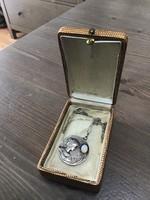 Antik szecessziós ezüst medál nyaklánccal eredeti tűzopál kővel