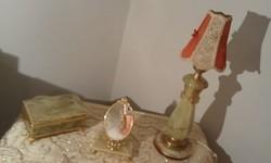 Ónix szett, Éjjeli lámpa, toalett tükör, és ékszerdoboz