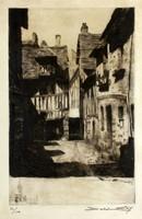 Szignózott rézkarc 50/150 Lisieux - France Emile Leroy város utcakép metszet 40,5x30,5cm