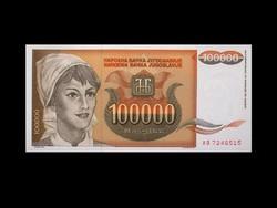 UNC - 100 000 DÍNÁR - JUGOSZLÁVIA 1993 ....Ritka