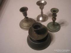 Antik 4-db réz+ bronz különböző méretű  gyertyatartó  gyűjtemény ritkaságok egyben eladóak