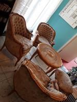 Warrings 3 fotel,puff és ratán szalonasztal